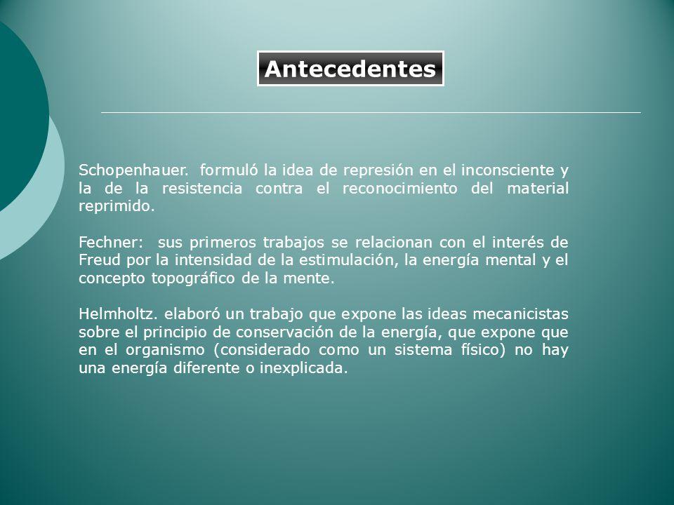 Antecedentes Schopenhauer. formuló la idea de represión en el inconsciente y la de la resistencia contra el reconocimiento del material reprimido.
