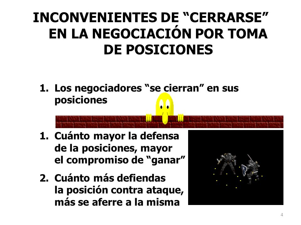 INCONVENIENTES DE CERRARSE EN LA NEGOCIACIÓN POR TOMA DE POSICIONES