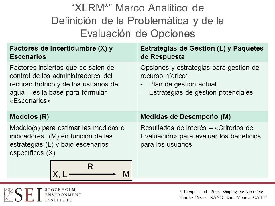 XLRM* Marco Analítico de Definición de la Problemática y de la Evaluación de Opciones