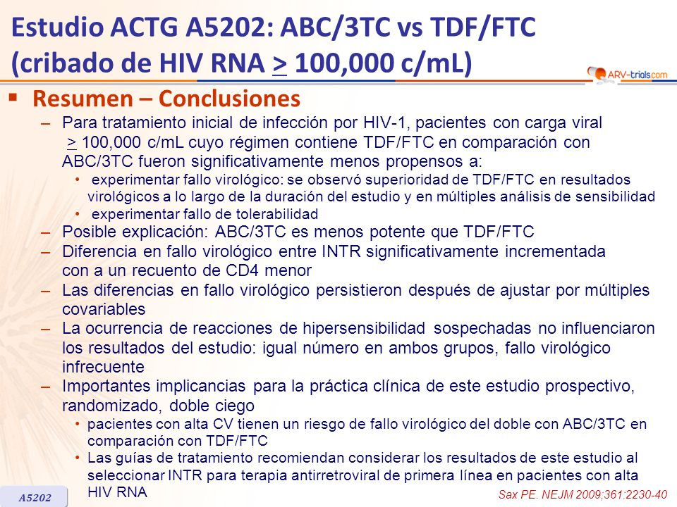 ARV-trial.com Estudio ACTG A5202: ABC/3TC vs TDF/FTC (cribado de HIV RNA > 100,000 c/mL) Resumen – Conclusiones.