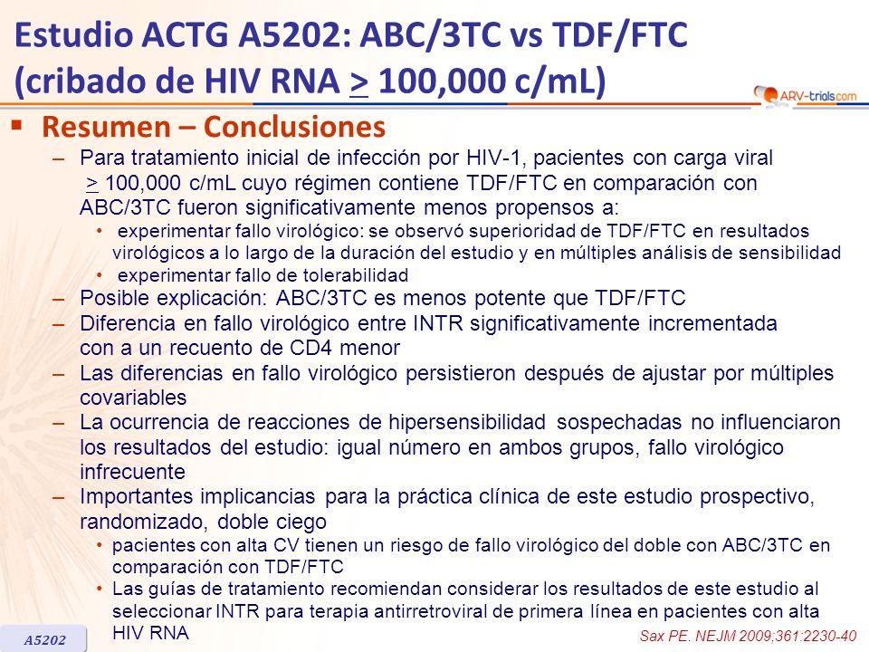 ARV-trial.comEstudio ACTG A5202: ABC/3TC vs TDF/FTC (cribado de HIV RNA > 100,000 c/mL) Resumen – Conclusiones.