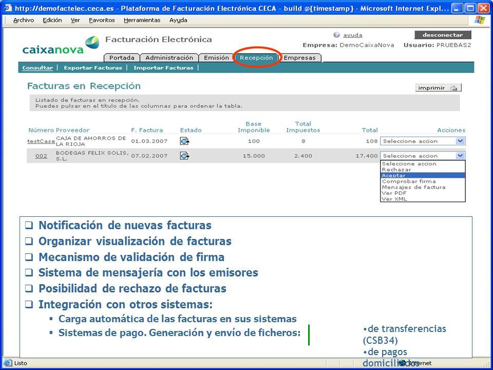 Notificación de nuevas facturas Organizar visualización de facturas