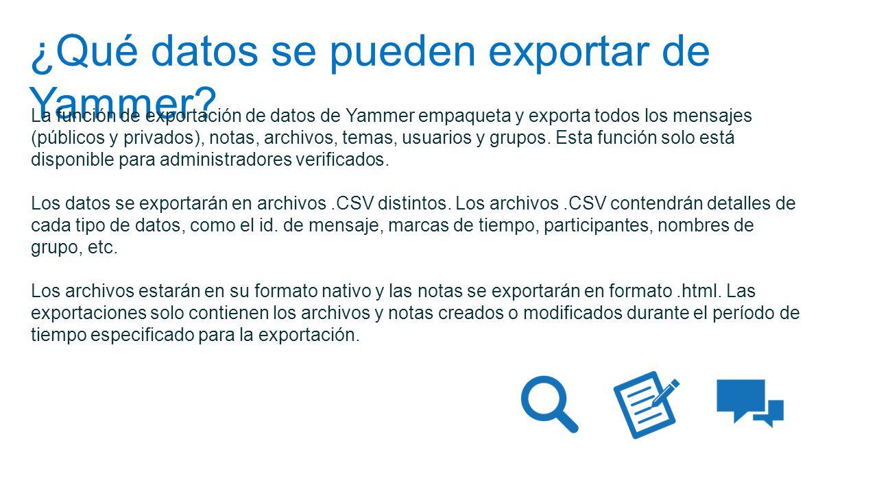 ¿Qué datos se pueden exportar de Yammer