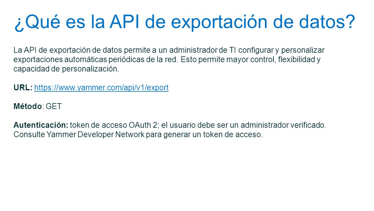 ¿Qué es la API de exportación de datos