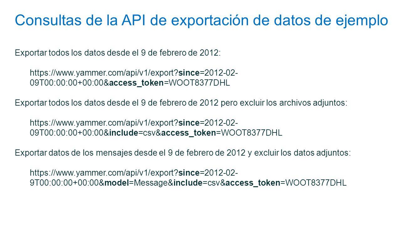 Consultas de la API de exportación de datos de ejemplo