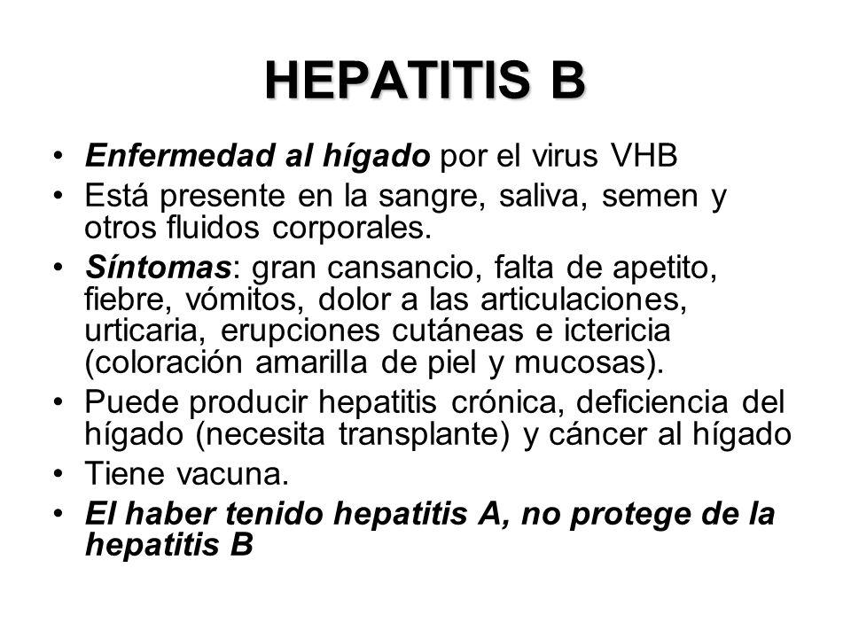 HEPATITIS B Enfermedad al hígado por el virus VHB