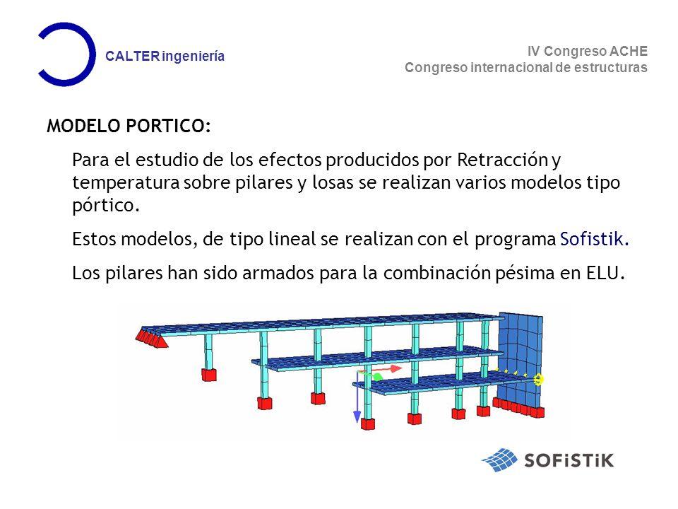 MODELO PORTICO: Para el estudio de los efectos producidos por Retracción y temperatura sobre pilares y losas se realizan varios modelos tipo pórtico.