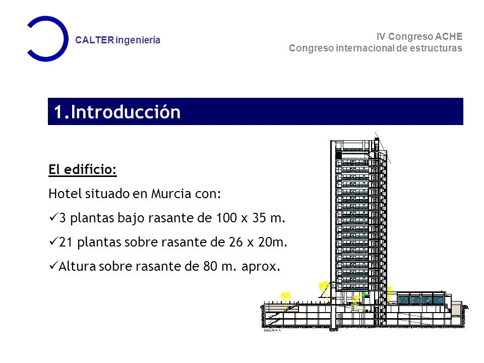 1.Introducción El edificio: Hotel situado en Murcia con: