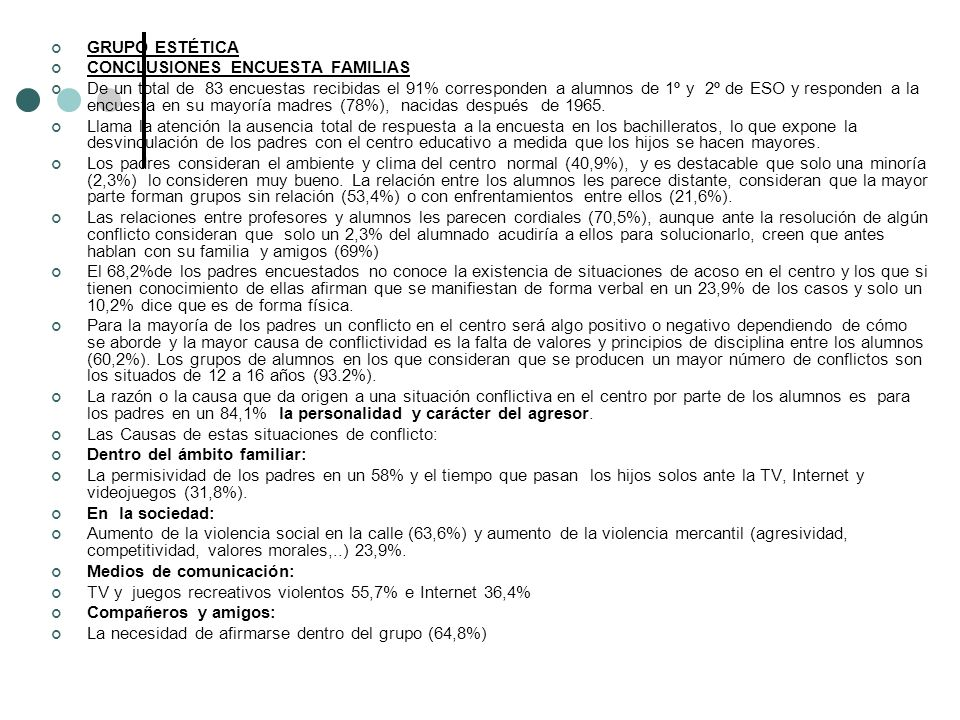 GRUPO ESTÉTICA CONCLUSIONES ENCUESTA FAMILIAS.