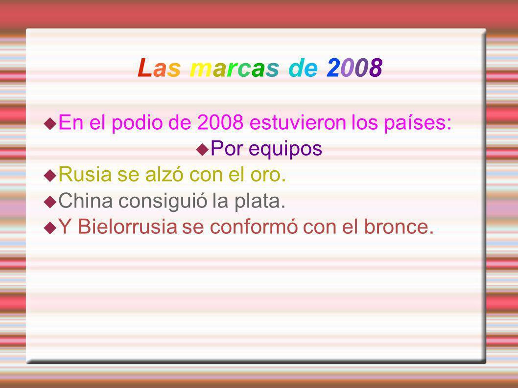 Las marcas de 2008 En el podio de 2008 estuvieron los países: