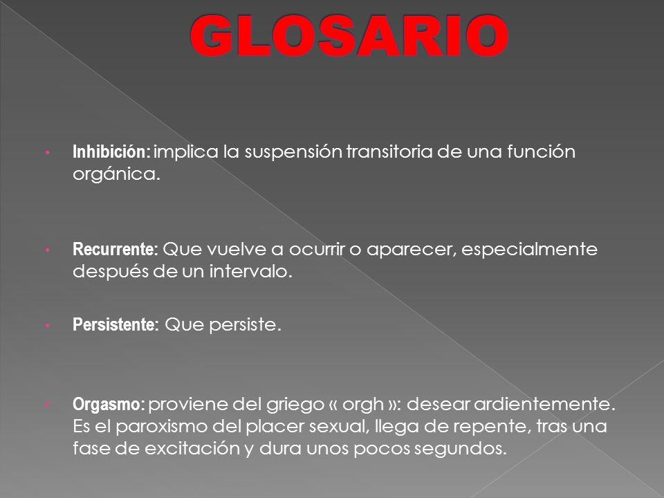 GLOSARIO Inhibición: implica la suspensión transitoria de una función orgánica.