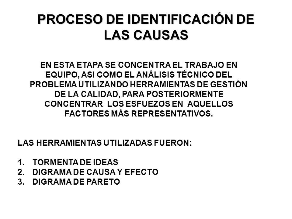 PROCESO DE IDENTIFICACIÓN DE LAS CAUSAS