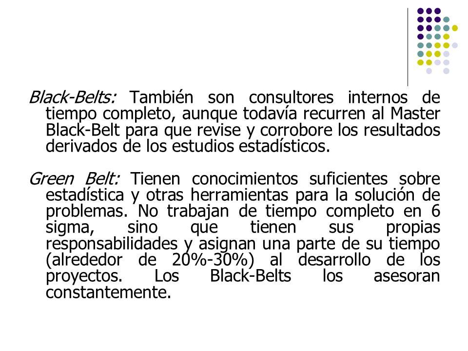 Black-Belts: También son consultores internos de tiempo completo, aunque todavía recurren al Master Black-Belt para que revise y corrobore los resultados derivados de los estudios estadísticos.