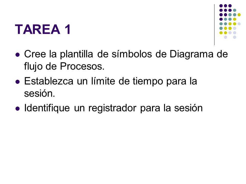 TAREA 1 Cree la plantilla de símbolos de Diagrama de flujo de Procesos. Establezca un límite de tiempo para la sesión.