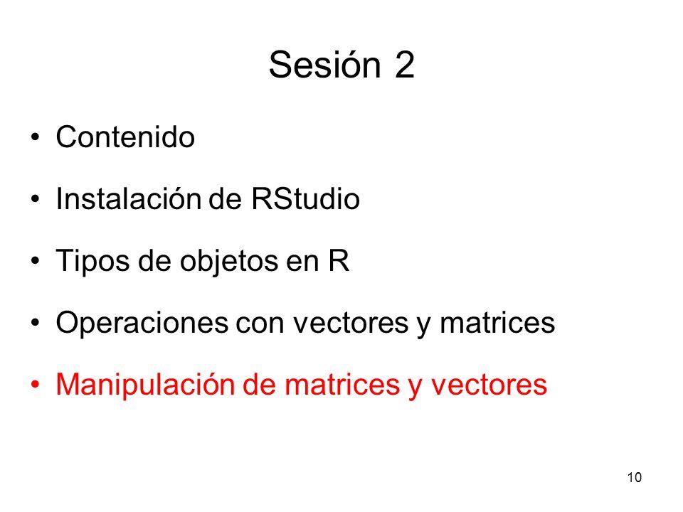 Sesión 2 Contenido Instalación de RStudio Tipos de objetos en R