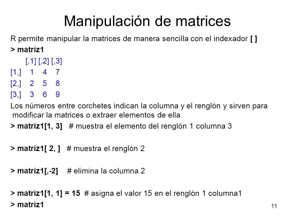 Manipulación de matrices