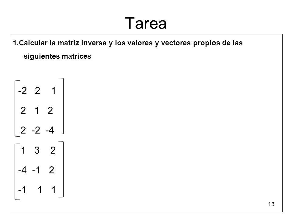 Tarea 1.Calcular la matriz inversa y los valores y vectores propios de las siguientes matrices. -2 2 1.