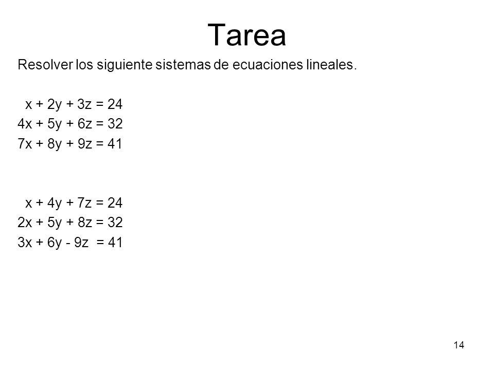 Tarea Resolver los siguiente sistemas de ecuaciones lineales.