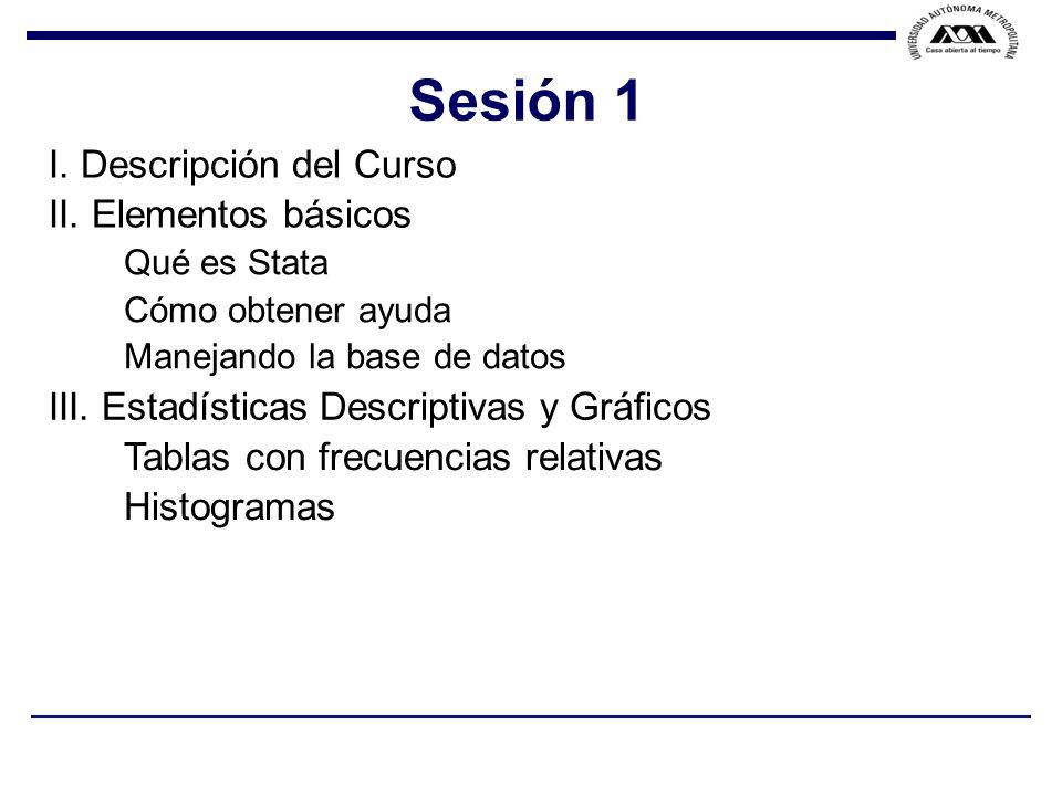 Sesión 1 I. Descripción del Curso II. Elementos básicos