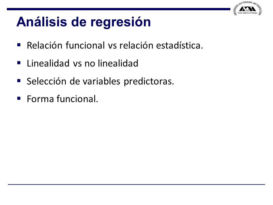 Análisis de regresión Relación funcional vs relación estadística.
