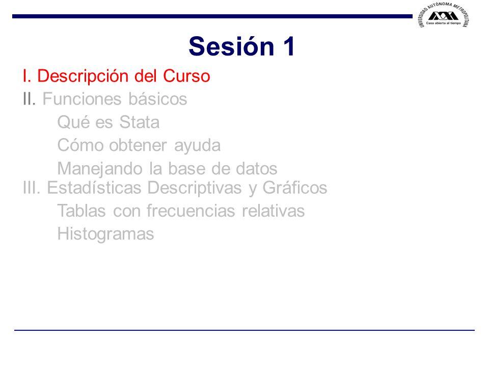 Sesión 1 I. Descripción del Curso II. Funciones básicos Qué es Stata