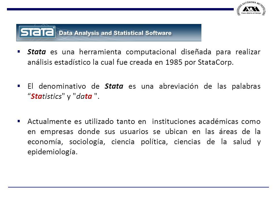 Stata es una herramienta computacional diseñada para realizar análisis estadístico la cual fue creada en 1985 por StataCorp.
