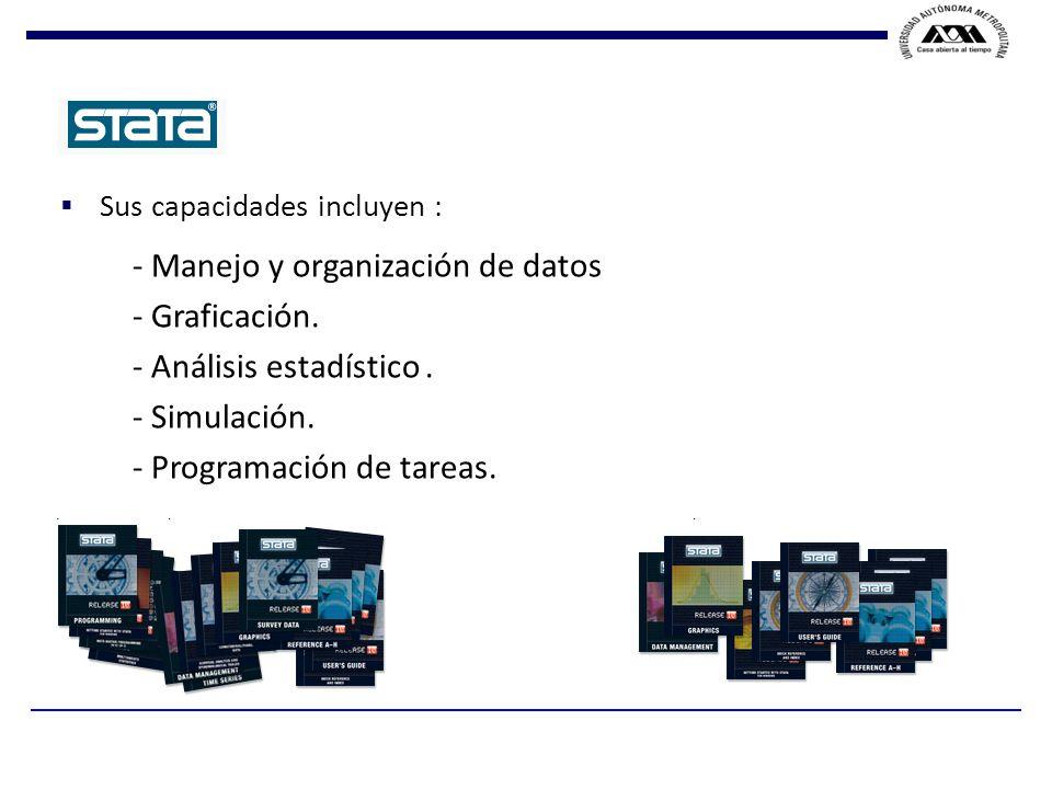 - Manejo y organización de datos - Graficación.