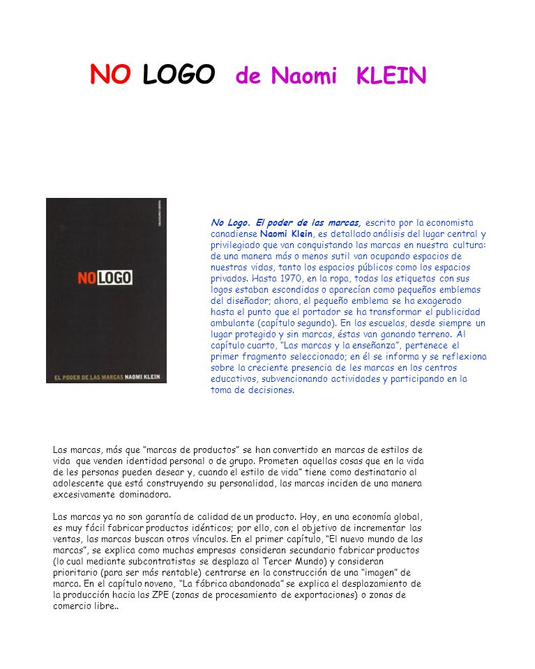 NO LOGO de Naomi KLEIN