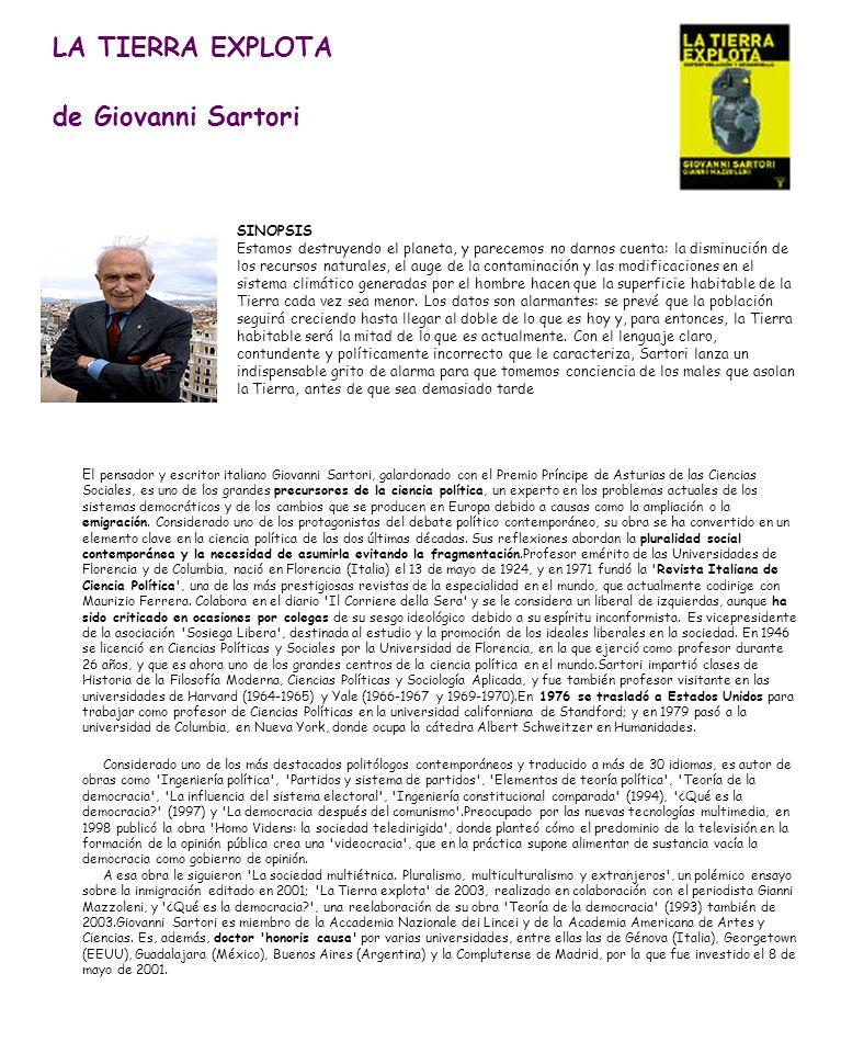LA TIERRA EXPLOTA de Giovanni Sartori