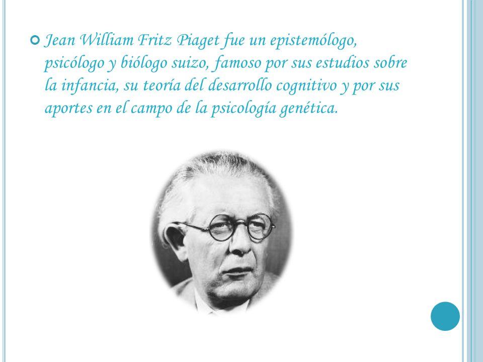 Jean William Fritz Piaget fue un epistemólogo, psicólogo y biólogo suizo, famoso por sus estudios sobre la infancia, su teoría del desarrollo cognitivo y por sus aportes en el campo de la psicología genética.
