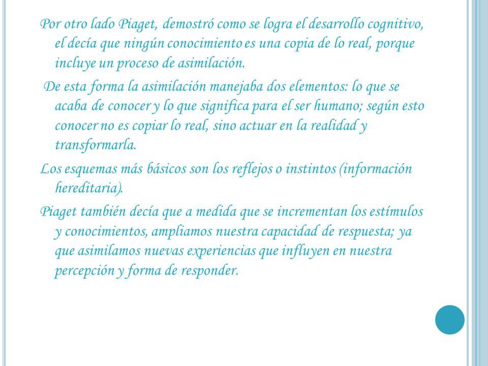 Por otro lado Piaget, demostró como se logra el desarrollo cognitivo, el decía que ningún conocimiento es una copia de lo real, porque incluye un proceso de asimilación.