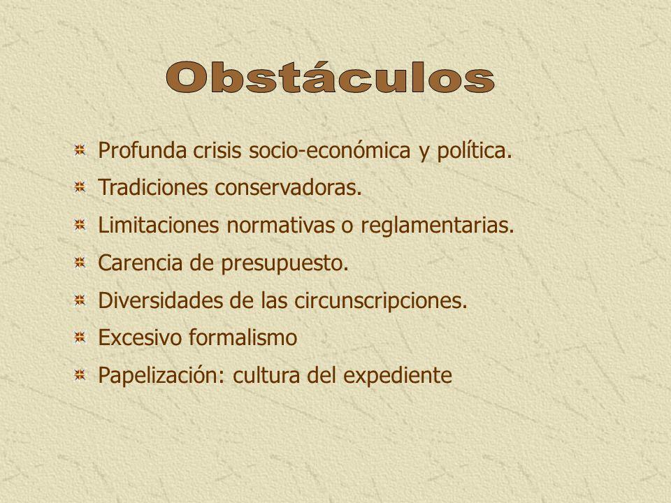 Obstáculos Profunda crisis socio-económica y política.