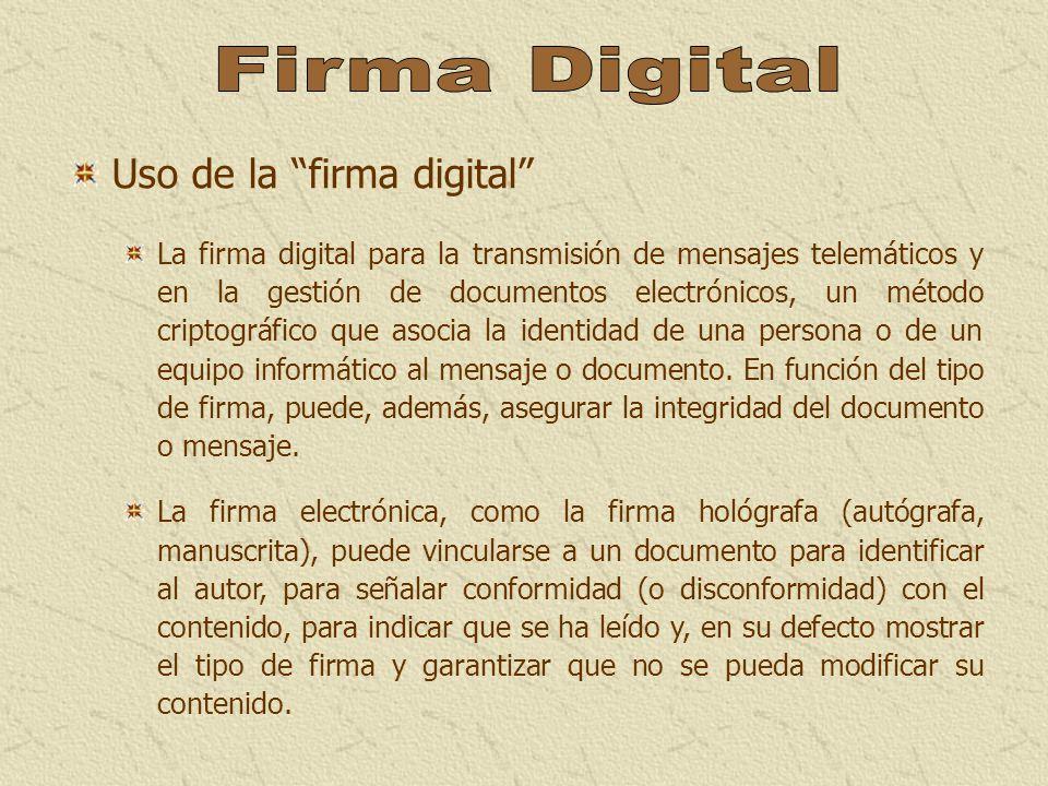 Firma Digital Uso de la firma digital