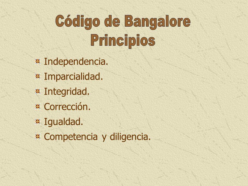 Código de Bangalore Principios Independencia. Imparcialidad.