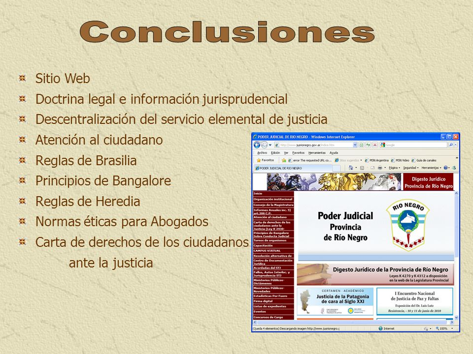 Conclusiones Sitio Web Doctrina legal e información jurisprudencial