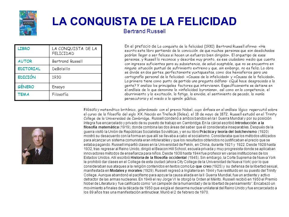 LA CONQUISTA DE LA FELICIDAD Bertrand Russell