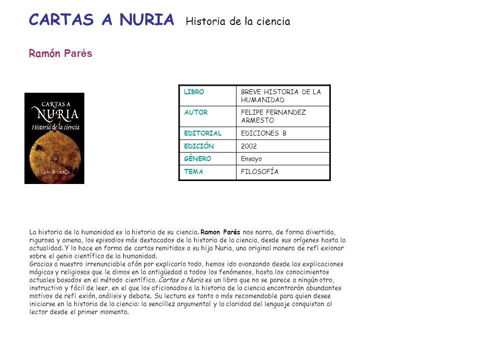 CARTAS A NURIA Historia de la ciencia Ramón Parés