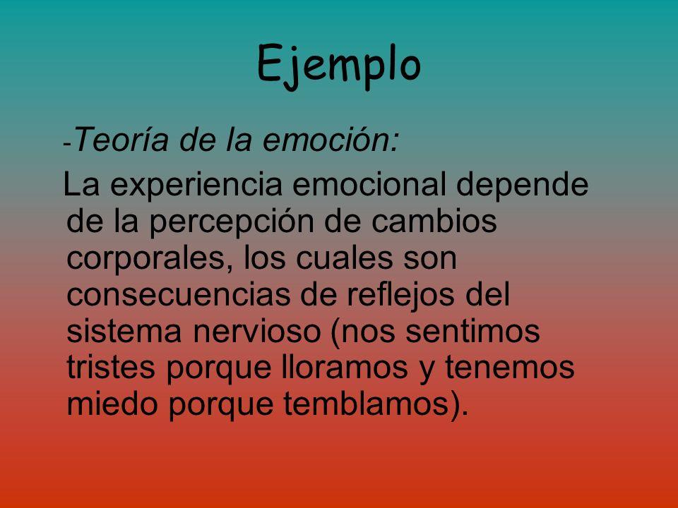 Ejemplo -Teoría de la emoción: