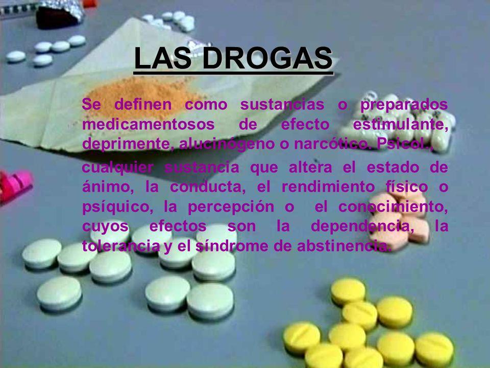LAS DROGAS Se definen como sustancias o preparados medicamentosos de efecto estimulante, deprimente, alucinógeno o narcótico. Psicol.,