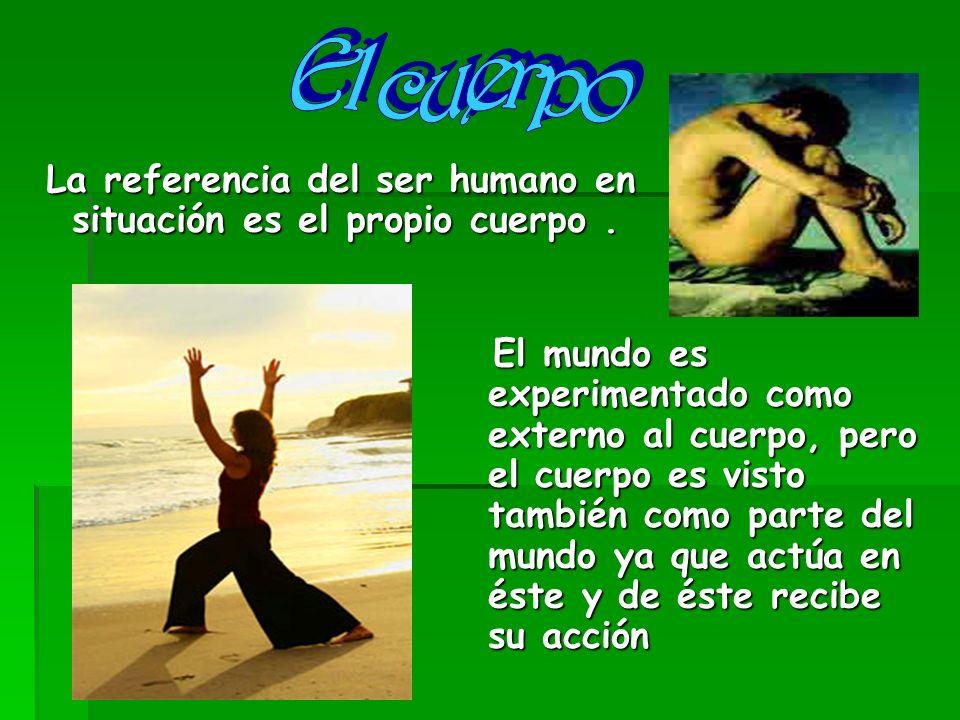 El cuerpo La referencia del ser humano en situación es el propio cuerpo .