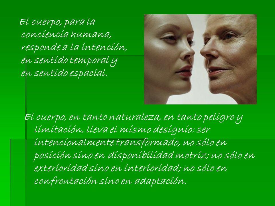 El cuerpo, para la conciencia humana, responde a la intención, en sentido temporal y en sentido espacial.
