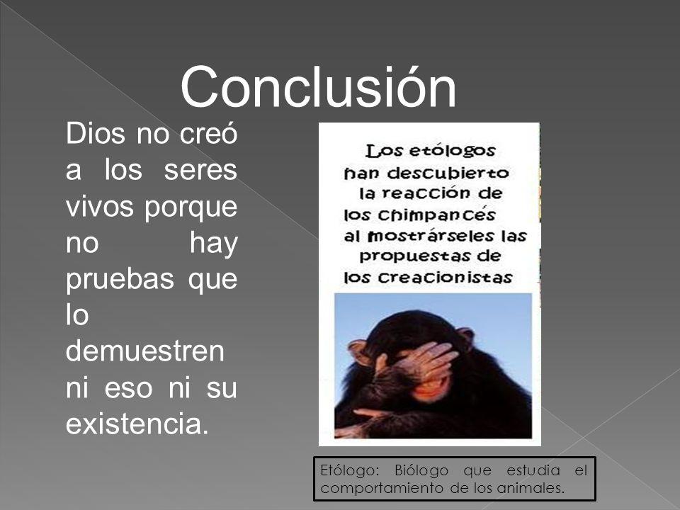Conclusión Dios no creó a los seres vivos porque no hay pruebas que lo demuestren ni eso ni su existencia.