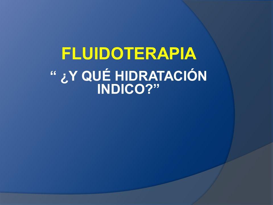FLUIDOTERAPIA ¿Y QUÉ HIDRATACIÓN INDICO