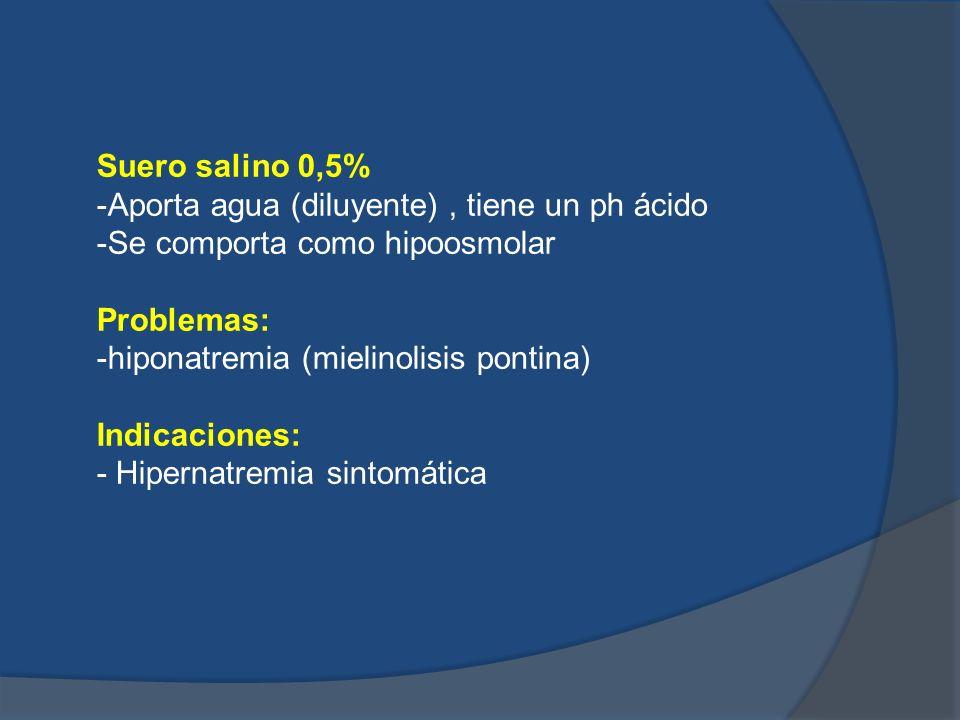 Suero salino 0,5%-Aporta agua (diluyente) , tiene un ph ácido. -Se comporta como hipoosmolar. Problemas: