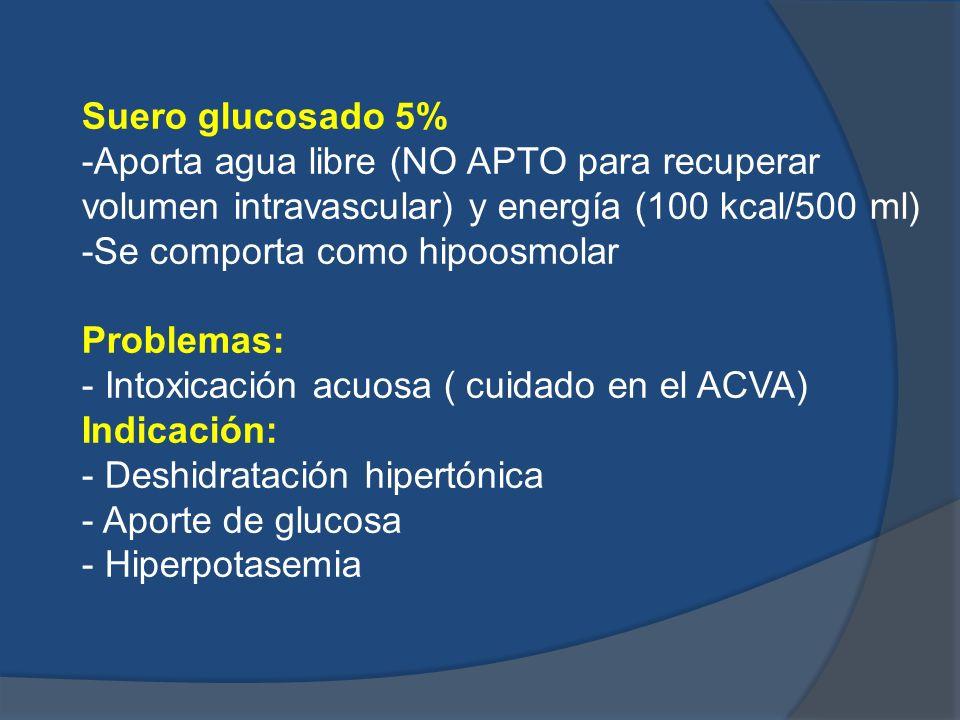 Suero glucosado 5%-Aporta agua libre (NO APTO para recuperar volumen intravascular) y energía (100 kcal/500 ml)
