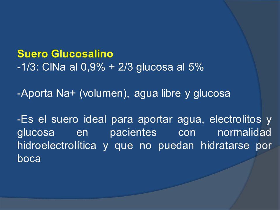 Suero Glucosalino-1/3: ClNa al 0,9% + 2/3 glucosa al 5% Aporta Na+ (volumen), agua libre y glucosa.