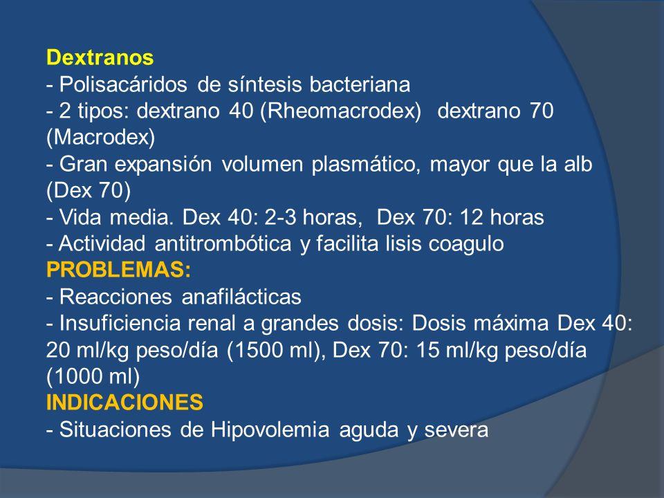 Dextranos- Polisacáridos de síntesis bacteriana. - 2 tipos: dextrano 40 (Rheomacrodex) dextrano 70 (Macrodex)