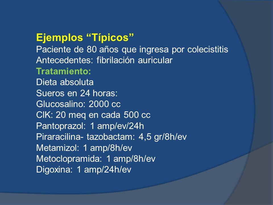 Ejemplos Típicos Paciente de 80 años que ingresa por colecistitis