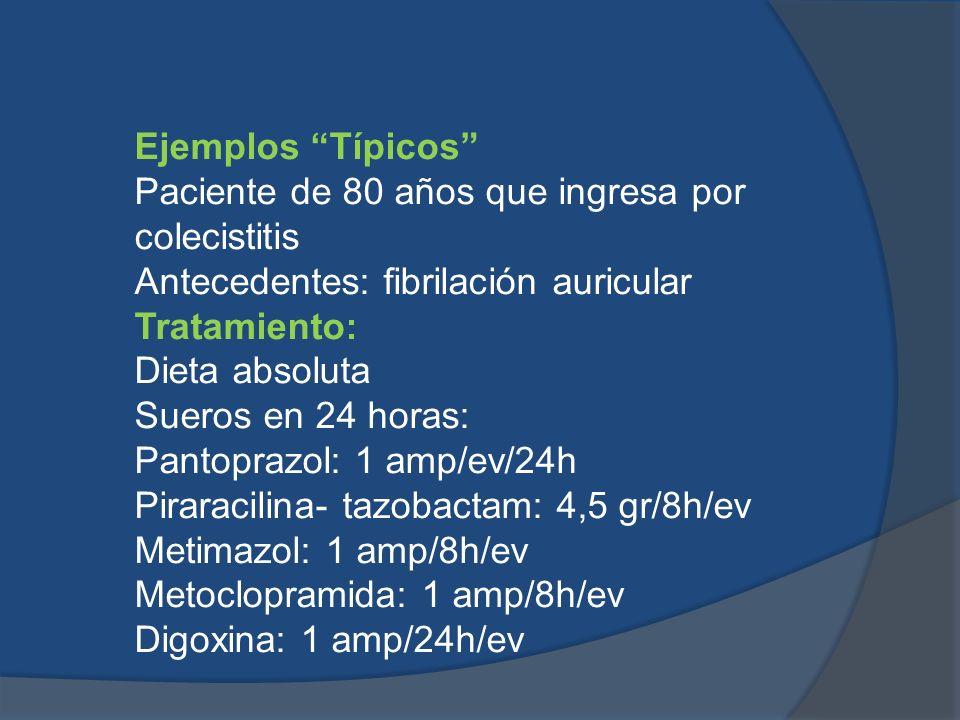 Ejemplos Típicos Paciente de 80 años que ingresa por colecistitis. Antecedentes: fibrilación auricular.