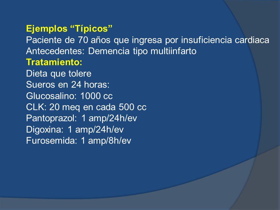 Ejemplos Típicos Paciente de 70 años que ingresa por insuficiencia cardiaca. Antecedentes: Demencia tipo multiinfarto.